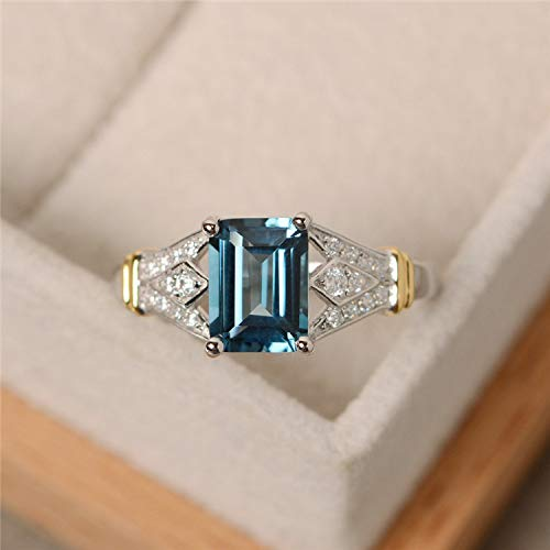 Metmejiao Vintage Women Aquamarine Gemstone 14k White Gold Filled Wedding Bridal Band Ring (9) from Metmejiao