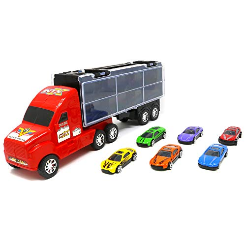 Big Mo's Toys Boys Truck - Transport Carrier Truck with Detachable Cab & Trailer and 6 Cars - Boy Gift Toy ()