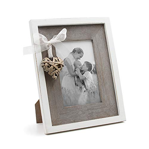 Love Heart Frame - Afuly Wooden Picture Frame 4x6 Rustic Photo Frames with Love Heart in White and Brown Family Wedding Gifts