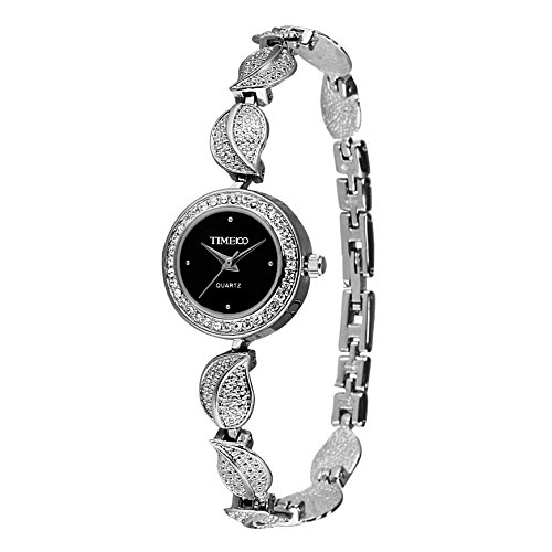 Quartz Leaf (Time100 Women's Fashion Unique Luxury Diamond Round Dial Leaf Shape Bracelet Ladies Quartz Wrist Watches)