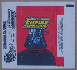 STAR WARS: THE EMPIRE STRIKES BACK-Gum card wrapper from 1982 Zoom Enlarge Sell one like this  STAR WARS: THE EMPIRE STRIKES BACK-Gum card wrapper from 1982 (Total Of 13 Pcs)