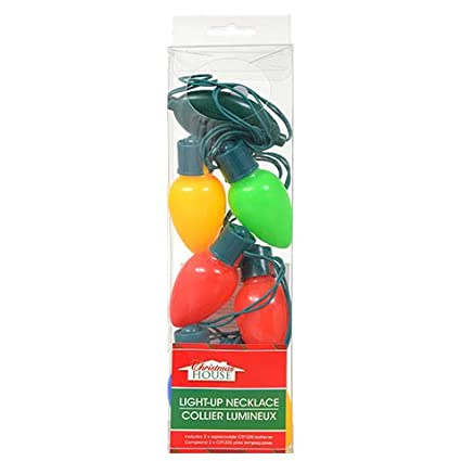 christmas house battery operated large 6 bulb christmas light necklaces - Christmas Light Necklace Battery Operated