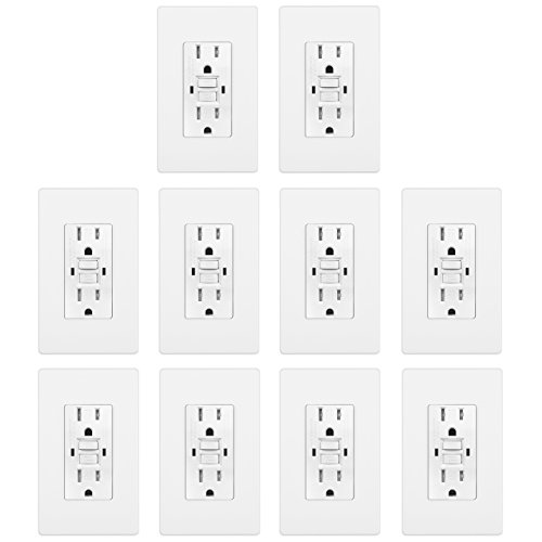 BESTTEN 15A Dual Indicator Self Test GFCI Receptacle, 15A/125V/1875W, Tamper Resistant Outlet, 2 Wall Plates and Screws Included, Auto-Test Function, UL Certified, White [10 Pack] -