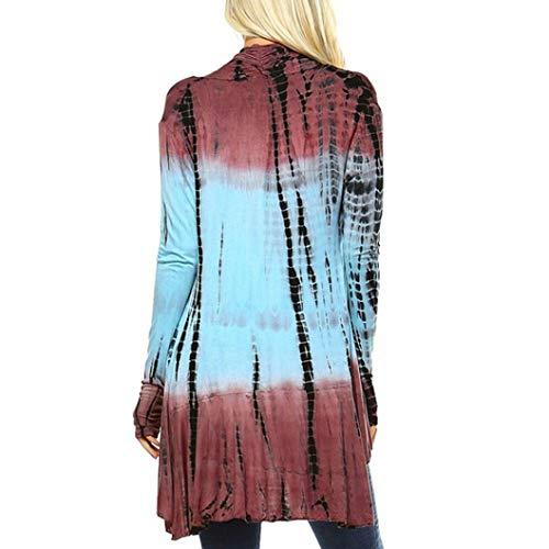 Manteau en Impression Couleur Manches Bleu Femme Blouse Dgrade Cardigan AIMEE7 Longues qtwABHx