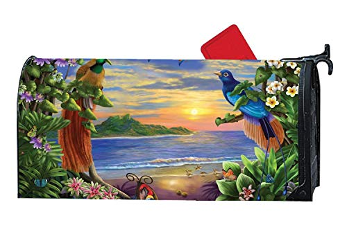 Spring Magnetic Mailbox Cover Mailwrap, All Weather Vinyl Mailbox Makeover Cover, Standard Size, Full Magnet on Backside - Tropical Birds Paradise Sun Beach Bird Of Paradise Cover