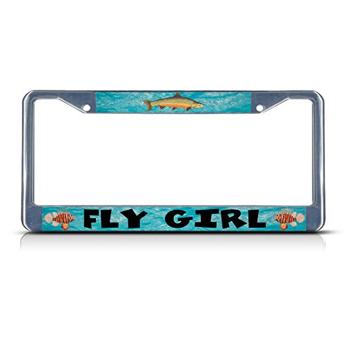 Fly Girl Fishing Fish Metal License Plate Frame Tag Border Two Holes Perfect for Men Women Car garadge Decor ()