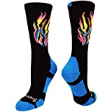 MadSportsStuff Flame Athletic Crew Socks (Multi-Neon/Black, Small)