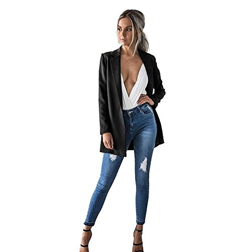 Kulywon Women Ladies Long Sleeve Cardigan Casual Blazer Suit Jacket Coat - Diamondback Lightweight Jacket