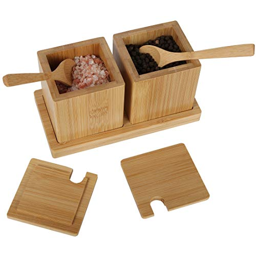 (Lily's Home Bamboo Wood Salt and Pepper Spice Serving Bowl Box with Spoons and Tray)