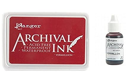 Amazon Ranger Archival Vermillion Red Permanent Dye Ink Stamp