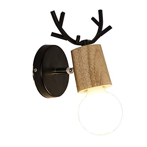 INJUICY Antlers Vintage Wooden Wall Lamps, Minimalist E27 Wall Sconces with Wooden & Matel Base for Living Room, Bedrooms, Bedside (A)