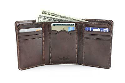 Mens Leather Tri Fold Traditional Wallet with ID Window and Multi Card Holder Slots Double Currency Divider Gusset Large Organizer Capacity made in Real Italian Cowhide Leather by Tony Perotti