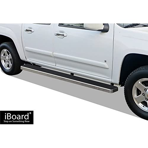 APS iBoard (Silver 5 inches) Running Boards | Nerf Bars | Side Steps | Step Rails for 2004-2012 Chevy Colorado/GMC Canyon Crew Cab for sale