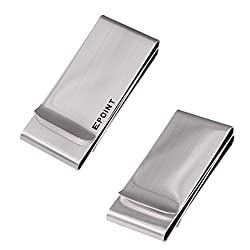 EQA09A01 Silver Stainless Steel Money Clip Fashion Double-Sided Money Clip Credit Card Holder For Working Day By Epoint