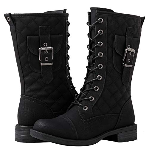 GLOBALWIN Women's Lace Up Miliraty Style Fashion Boots