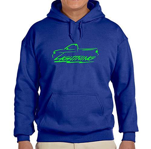 (1999-04 Ford SVT Lightning F150 Pickup Truck Classic Green Color Outline Design Hoodie Sweatshirt 2XL)