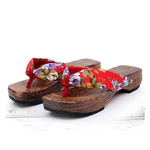 tongs bois plate Mode femmes forme Rouge sandales Transer bois en saboter ® X8q187