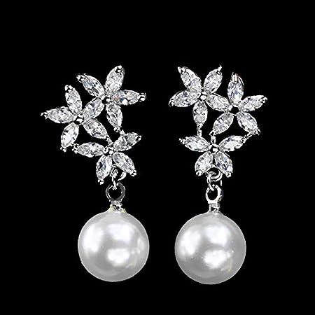 NOBRAND Pendientes Mujer Moda Color Plata Cristal Blanco Gota Pendientes De Perlas Simuladas con Flores De Circonia para Novias