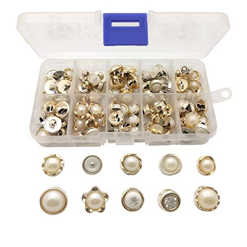 Faux Pearl Button - Chris.W 100Pcs Sew in Faux Pearl Buttons Sewing Crafts with Shank for Clothes Shirts Suits Coats Sweaters, 10 Designs, Storage Box Included(White and Gold)