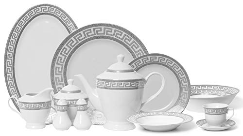 Royalty Porcelain Vintage Platinum 57-pc Dinnerware Set 'Greek Silver', Premium Bone China