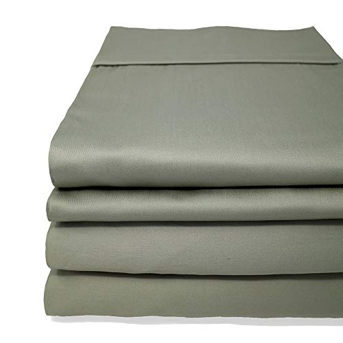 Split Flex King Sheets - The Only Stay On and Not Tear Design - Split Flex Top King - Cinches to Fit & Won't Pop Off! - Adjustable Bed Sheet - 600 TC Sheet Set 100% Cotton (Sage, Split Flex Top King)