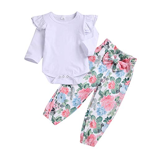 Baby Girls Rompers Set, Long Fly Sleeve Cotton Romper+Floral Pant Clothing Sets(3M-24M) residentD (3-6 Months, White)