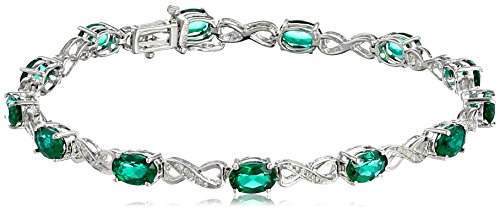 Infinity Emerald Bracelets (Sterling Silver Created Emerald and Diamond Infinity Bracelet (1/10 cttw, I-J Color, I2-I3 Clarity), 7.25