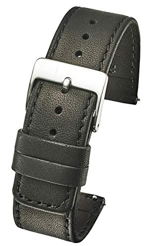 (Slim Soft Stitched Genuine Leather Watch Band with Quick Release Spring Bars - Black - 20)