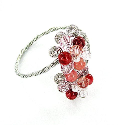 Linpeng Faceted Crystals & Rhodochrosite Beads Wired Flowers Bypass Bangle Bracelet, Red/Pink (Bypass Flower)