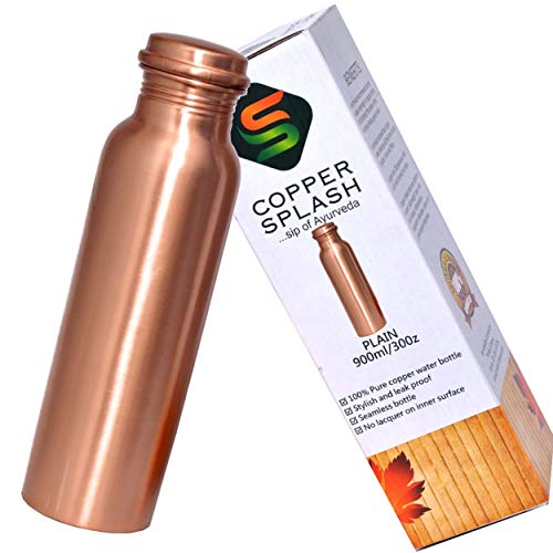 Copper Splash Pure Copper Water Bottle - no Joint and Leak Proof Copper Pitcher - no Messy Label - Copper Vessel have Ayurvedic Health Benefits. Holds 900 Mililitre or 30 Ounce (30oz)