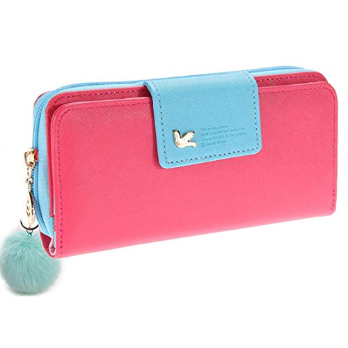 Wallet-NEWANIMA Women Lady Multi-card Two Fold Long Zipper Clutch Purse Handbag With Keychain (Rose)