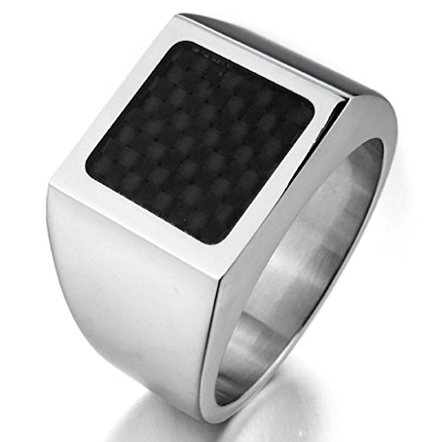 Halloween Costumes Santa Monica (Gnzoe Jewelry, Mens Stainless Steel Carbon Fiber Rings Silver Black Checkered Square Unique Size 10)