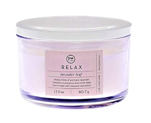DW Home Spa Style Relax Lavender Leaf in Wide-Mouth Jar with Lid, 3-Wicks