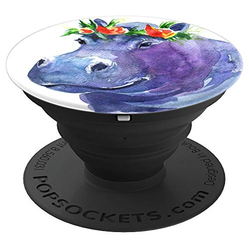 Cute Hippo Watercolor Pop Socket Flowers Head - PopSockets Grip and Stand for Phones and Tablets