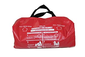 Sellstrom 97452 Fiberglass Emergency High Temperature Fabric Blanket with Small Red Vinyl Duffel Handle Bag, 6' Length x 5' Width, White