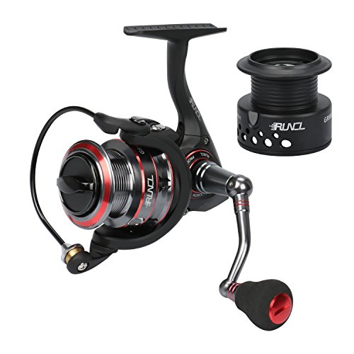 RUNCL Spinning Reel Grim II, New 2018 Fishing Reel with Spare Spool, Smooth Spinning Fishing Reel 10+1 Stainless Steel Shielded BB Oversized EVA Knob for Freshwater Saltwater Fishing (Black, 2000)