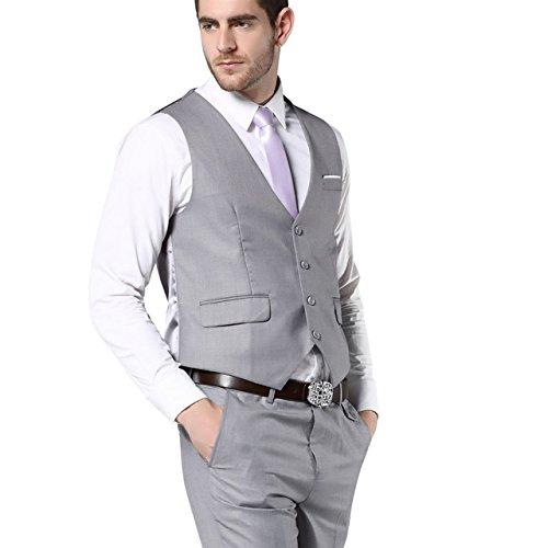 Fashion Suit Light Gray Slim Fit Wedding Suits For Men Bussiness ...