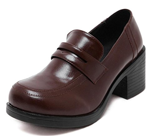 ACE SHOCK Women's Girl's Lolita Low Top Japanese Students Maid Uniform Dress Shoes (8.5, Dark Brown) by ACE SHOCK