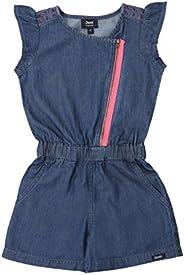 Girls' Cap Sleeves Denim Jumper with Fuschia Pink Zi