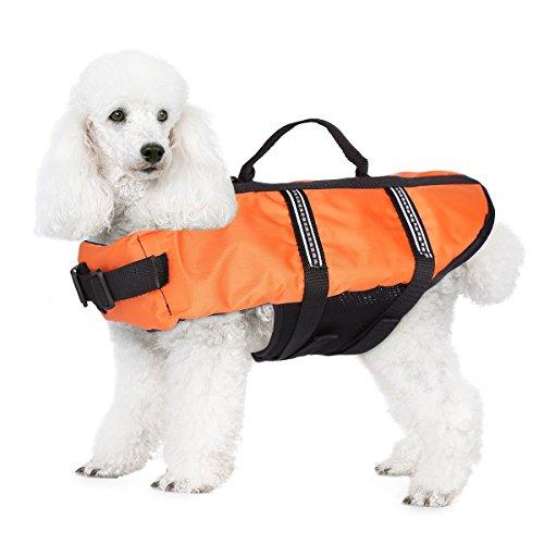 JZHY Hundeschwimmweste Sicherheitskleidung Schwimmen Schwimmwesten Badebekleidung mit verstellbaren G¨¹rtel f¨¹r Haustier Hund-Orange,XS