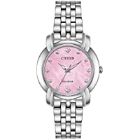 Ladies' Citizen Eco-Drive Jolie Diamond Pink Dial Stainless Steel Watch EM0710-54Y