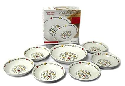 7 Piece Italian Style Pasta Bowl Set -with serving pasta bowl and pasta dinner bowls  sc 1 st  Amazon.com & Amazon.com | 7 Piece Italian Style Pasta Bowl Set -with serving ...