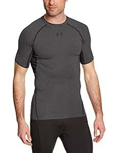 Under Armour Men's HeatGear Armour Short Sleeve Compression Shirt, Carbon Heather (090), X-Small