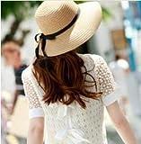 Tsptool Women Fashion Beach Sun Straw Hat Foldable Bowknot Straw Hat Cap Wide Brim Beach Sun?