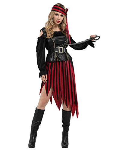 GRACIN Halloween Pirate Costume, 4 Pieces Adult Buccaneer Wench Cosplay Outfit for Women (One Size, Black)