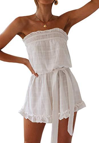 R.Vivimos Women's Summer Linen Ruffles Boho Casual Tube Playsuits Short Jumpsuit Rompers (XL, White Style #2)