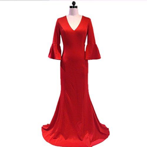Neck Slim Women`s Sleeve Built v Evening Red Dresses Bra Mermaid Gown Half cotyledon In xfCqRR