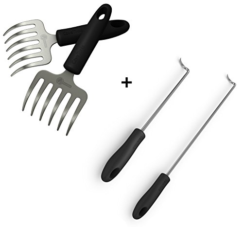 Pulled Pork Shredder Rakes Pigtail Food Flipper Hooks – Large Small Barbecue Cooking Turners For Turning Bacon Steak Meat Vegetables Sausage Fish – Replaces Grill Spatula Tongs BBQ Fork