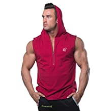 Men's Bodybuilding Shirt Fitted Sleeveless Zipper Hoodie for Gym and Workout