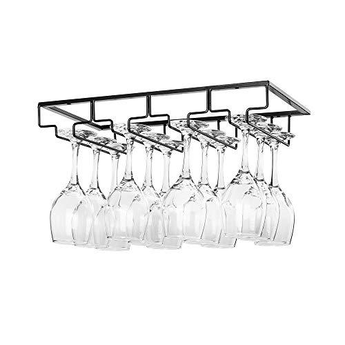 - Wine Glass Rack Under Cabinet - Stemware Holder Metal Wine Glass Organizer Glasses Storage Hanger for Bar Kitchen Black 4 Rows